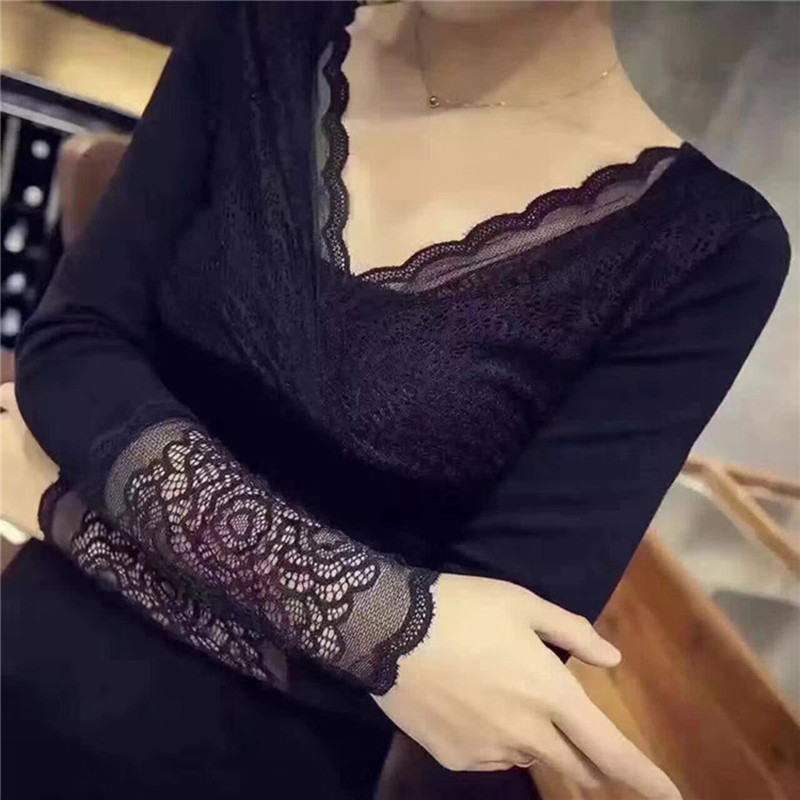 2018 Lace Patchwork Winter Women's Thermal Underwear Sexy V-neck Warm Velvet Blouses Female Thermos Tops Under Women's Sweater