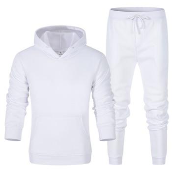 New Men Hoodies Suit Mens Fashion Tracksuit Casual Sportsuit Men Hoodies Sweatshirts Sportswear Coat+Pant Set Homme Pullover 3XL