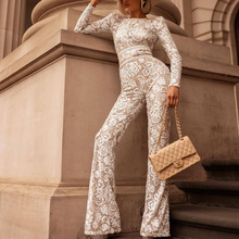 STYLISH LADY Embroidery Lace Rompers and Jumpsuits 2020 Spring Women Long Sleeve Bodycon Club Party Elegant Office Lady Overalls stylish cami lace women s bodycon dress