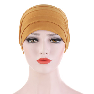 Image 3 - 2020 New Spring Candy Color Turban Cap Chemotherapy Headband Forehead Pile Hat Muslim Headscarf Women Hair Accessories