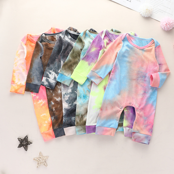 цена на Fashion New Autumn Spring Newborn Baby Rompers Clothes Long Sleeve Tie Dye Print Ribbed Jumpsuit Toddler Infant Onepieces Outfit