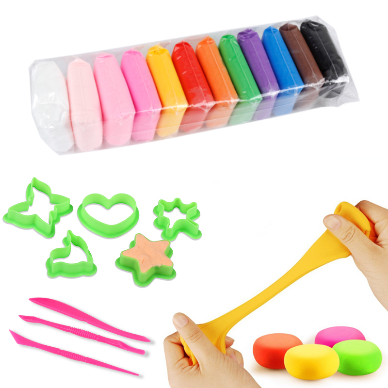 Clay Toys DIY Toy Fluffy Multiple Colour /set Polymer Clay With Tools Light Plasticine Learning Hands-on Toys For Children Nail