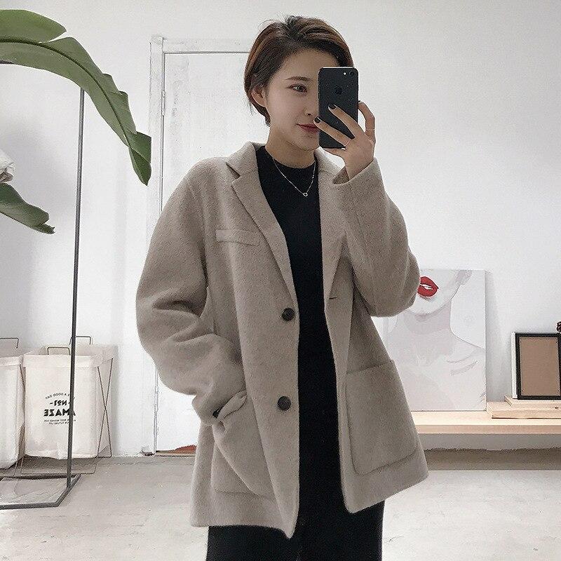 Корейский Dongdaemun костюм кашемировое пальто темперамент с длинными рукавами шерстяной костюм куртка Женский