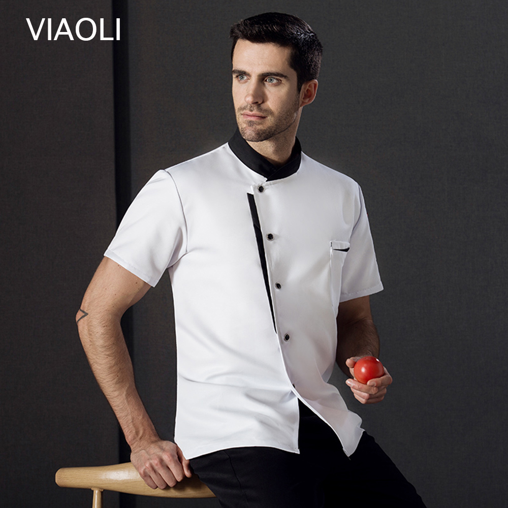 New Chef Jacket Hotel Chef's Uniform Short Sleeve Mesh Breathable Work Clothes Catering Restaurant Kitchen Bakery Wholesale 2019
