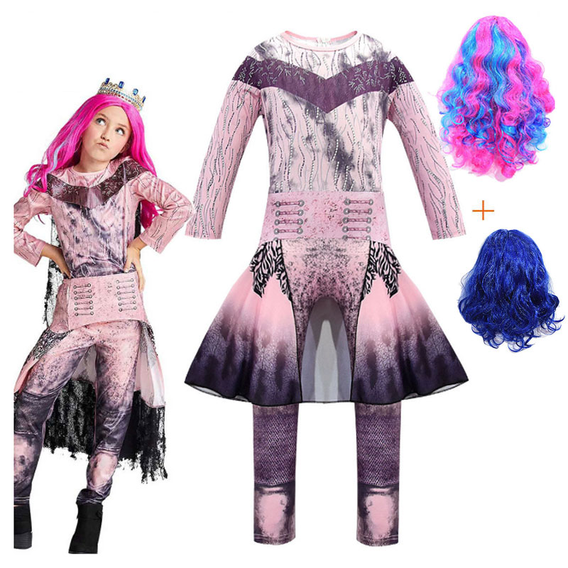 Kids Descendants 3 Mal Bertha Maleficent Cosplay Costume Girls Halloween Party Performance Clothing Mal 3D Printed Jumpsuits