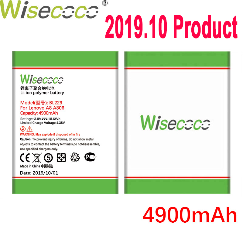WISECOCO 4900mAh BL229 Battery For Lenovo A8 A 8 A806 A808T 806 808T Mobile Phone Latest Production Battery With Tracking Number