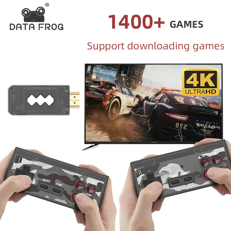 Data Frog USB Wireless Handheld TV Video Game Console Build In 1400 Classic Game 8 Bit Mini Video Console Support AV HDMI Output