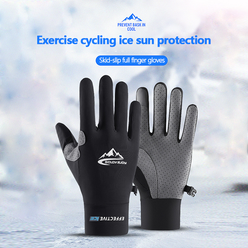 2PCS Full Finger Cycling Gloves Summer Sunscreen Air Ice Silk Cool Feeling Thin Breathable Gloves Touch Screen Sport Gloves