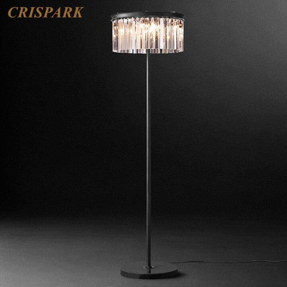 Vintage Crystal Standing Lamp 1 Tier Round Cristal Prism Floor Lamp Art Deco Indoor Light Fixture for Living Room Bedroom TV