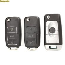 jingyuqin Flip Remote Car Key Shell For Volkswagen VW Golf Passat Polo Jetta Touran Beetle Bora Sharan 3 BTN Uncut Key Fob Blade
