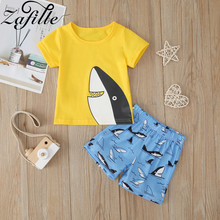 ZAFILLE Summer Baby Boy Clothes Shark Printed 2Pcs Toddler Outfits Sets Cotton Kids Clothes Short Sleeve Boys Suit Baby Clothing summer infant clothes cotton short sleeve tops pants baby toddler boy clothing sets kids children boys outfits suits