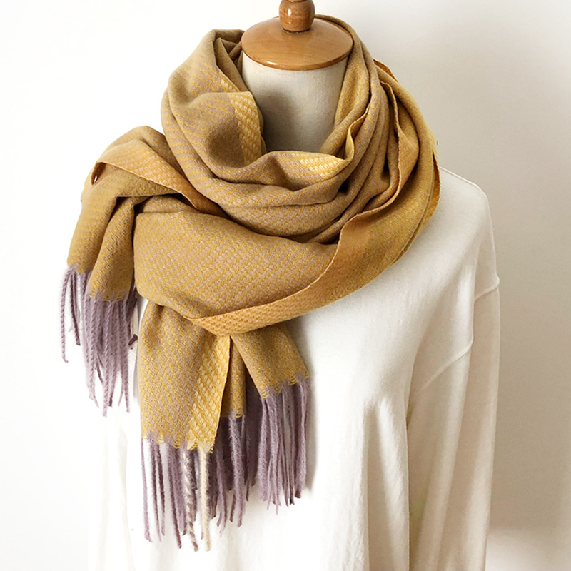 Knitted Winter Scarf Women Patchwork Solid Cashmere Scarves Wraps Wram Shawls Female Pashmina Lady Blanket Shawls