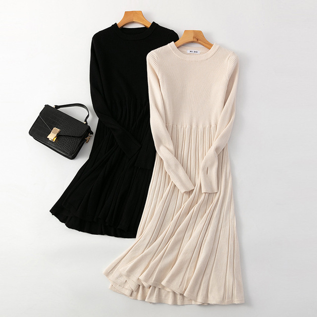 Long Knit Maxi Sweater Dress  A Line Ribbed  Pullover 1