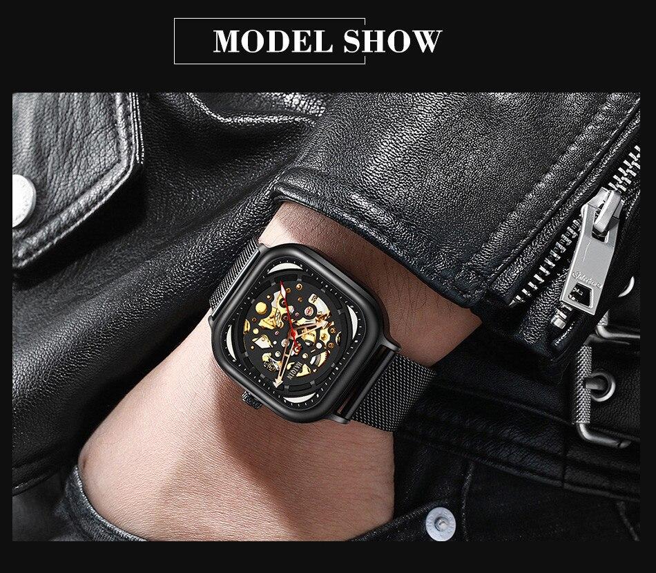 automático relógio de pulso montre homme + caixa