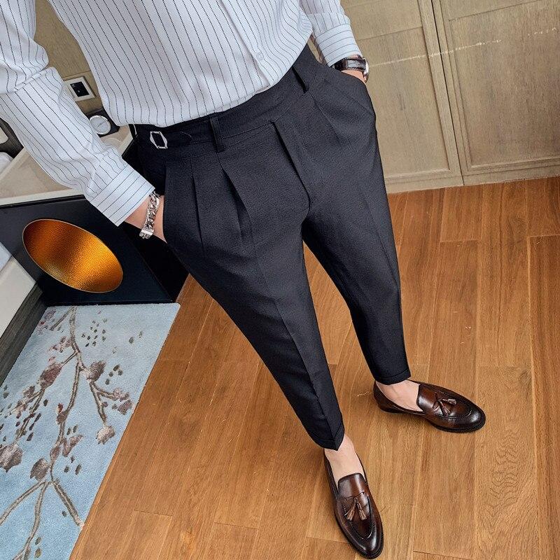 All Match Business Formal Wear Solid Men Casual Pants Dress Korean Slim Fit Streetwear Gentlemen Office Work Trousers 29-36 Sale