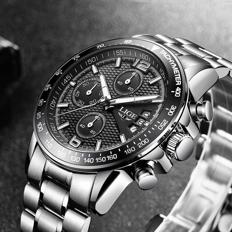2020 LIGE nouvelles montres hommes haut de gamme marque militaire Sport plein acier hommes montre étanche horloge chronographe Relogio Masculino