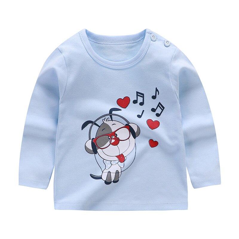От 6 месяцев до 5 лет унисекс; сезон осень-зима; хлопковая футболка с длинными рукавами и героями мультфильмов; футболки для маленьких мальчиков и девочек; детская повседневная одежда; одежда с круглым вырезом - Цвет: Q54