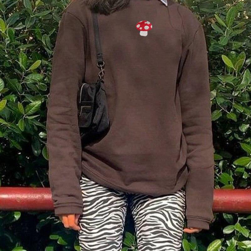 2021 Spring Sweatshirts Streetwear new Fashion Embroidery mushroom Indie Aesthetic 90s Long Sleeve Summer Hoodies clothes 11