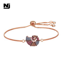 NJ Stunning Cute Animals Design Charm Woman Bracelets Silver Rose Gold Snail Chain Adjustable Copper Zirconia Bracelet Gifts