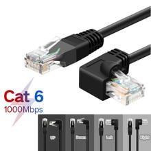 Cable Ethernet CAT6 RJ45, Cable de conexión de red con ángulo recto para PC, PS4, Xbox, Router, negro, dorado, chapado, RJ45, 8P8C, 1m, 1,8 m