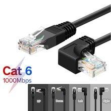 Ethernet כבל CAT6 RJ45 רשת תיקון עופרת כבל בזווית נכון עבור מחשב PS4 Xbox נתב שחור זהב מצופה RJ45 8P8C כבל 1m 1.8m