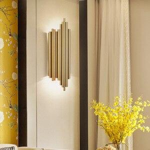 Image 2 - Ouro cromo led luzes de parede tubo metal corpo para sala estar quarto cabeceira superfície montagem decoração casa loft arandela luminárias