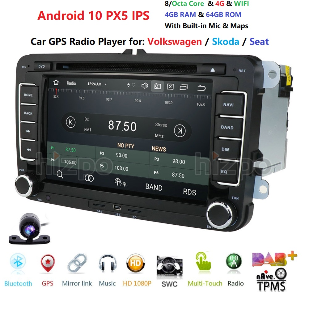 OctaCore 2 Din Android 10 Car Audio DVD Player Radio For VW GOLF 6 Polo Bora JETTA <font><b>B6</b></font> <font><b>PASSAT</b></font> Tiguan SKODA OCTAVIA GPS Navigation image