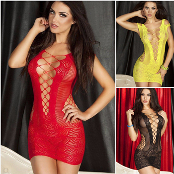 porno Sexy Lace Hollow Out Lingerie Women Hot Erotic Sleep Wear Babydoll Langerie Sex Chemises Nightwear 2