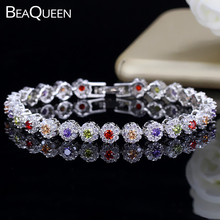 BeaQueen Lovely Colorful Flower Crystal White Gold Color Jewelry Micro Paved Cubic Zirconia Stone Cute Bracelets for Ladies B099 free shipping womens jewelry 18k gold filled cute austrian crystal amazing cat s eye stone fashion bracelets