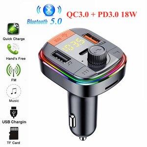 Image 1 - Bluetooth 5,0 Auto Kit Freisprechen FM Transmitter Stereo Auto MP3 Player PD18W QC 3,0 Schnell Ladung USB Auto Ladegerät TF/U Disk Spielen