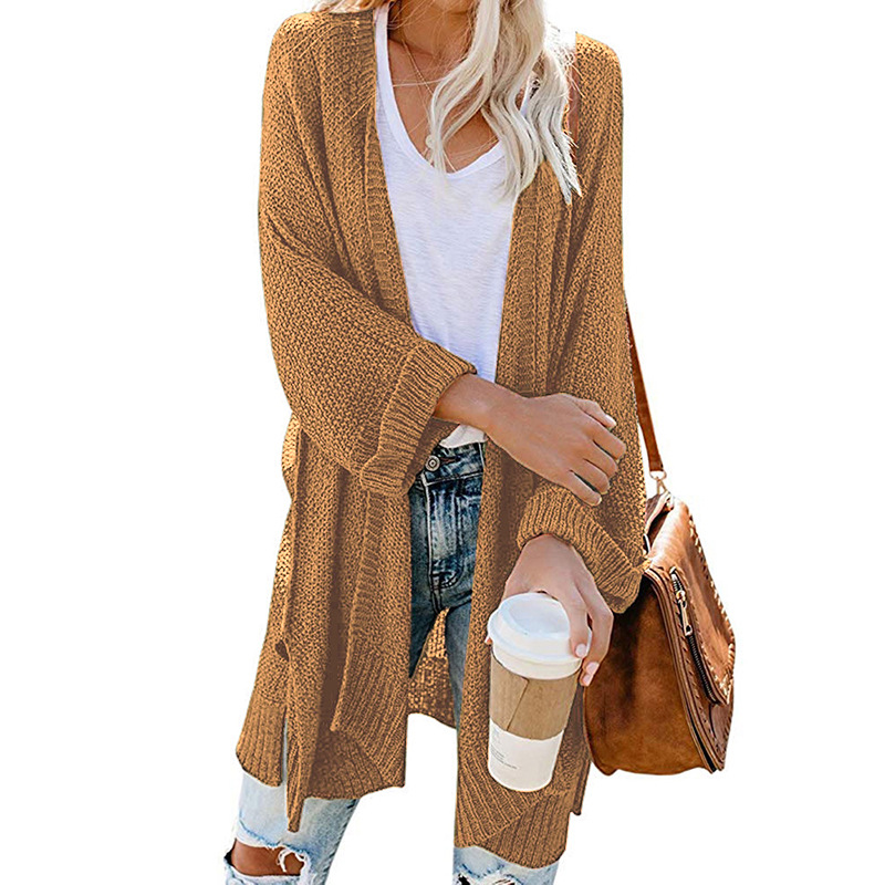 2xl Roll Sleeve Knitted Long Cardigan Women For Autumn 2019 Black Ladies Fall Cardigans Women Jumpers Sweater Women For Winter 4