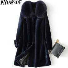 AYUNSUE, настоящая овчина, шуба, зимняя куртка, женская, Лисий мех, воротник, шерсть, пальто, женские корейские длинные куртки размера плюс, мой