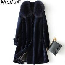 AYUNSUE, abrigo de piel de oveja real, chaqueta de invierno para mujer, con cuello de piel de zorro, abrigo 100% de lana para mujer, chaquetas largas coreanas de talla grande MY
