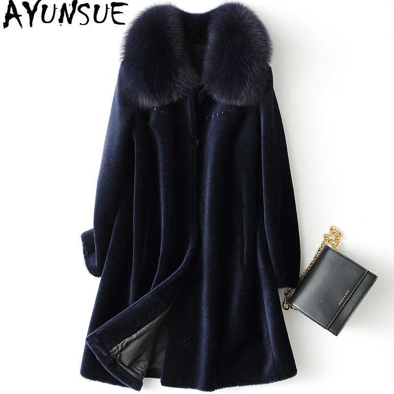AYUNSUE пальто с натуральным овечьим мехом зимняя куртка женская лисий меховой
