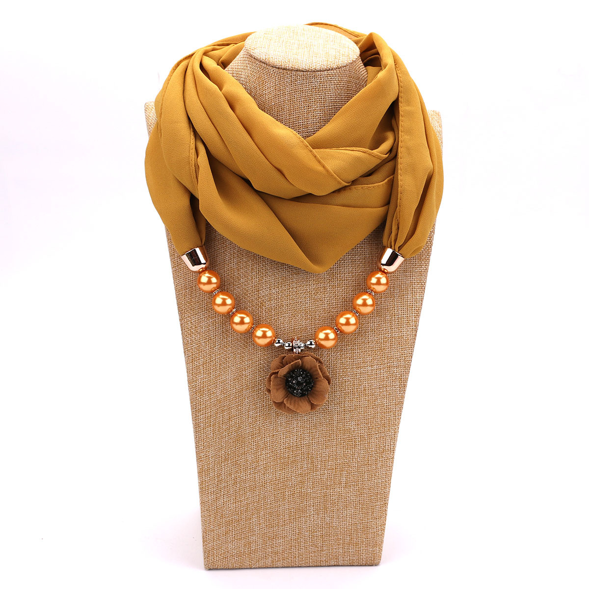 pearl chiffon jewelry necklace pendant scarf female spring autumn and winter fashion flower neck