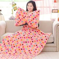 Creative Washable Bow Pillow Spring And Summer Airable Cover Cute Home Sofa Cushion Lunch Break Blanket
