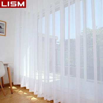 LISM biała kurtyna tiul na firanki Sheer do salonu sypialnia kuchnia wykończona ozdoba okna dekoracje Panel tanie i dobre opinie Perspective Tulle Lewy i prawy biparting otwarta Okno Montaż sufitowy X033-1 Przędzy barwionej French Window Nowoczesne