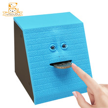 Funny Face Bank Novelty Toys Smart Piggy Boxes Eat Coin Container Cute Facial Figure Money Storage Boxes Moving Decoration Gifts