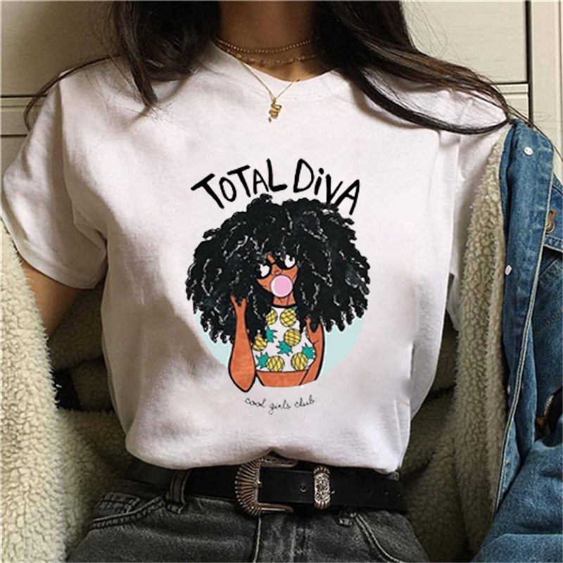 Maycaur Funny Melanin Poppin T Shirt Vogue T Shirt Women Black Curly Hair Girl Printed Tshirt Femme Harajuku Female T-shirt Tops