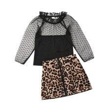 Эксклюзивная Одежда для девочек Одежда для маленьких девочек кружевные топы с пышными рукавами+ леопардовая юбка осенняя одежда из 2 предметов От 1 до 6 лет