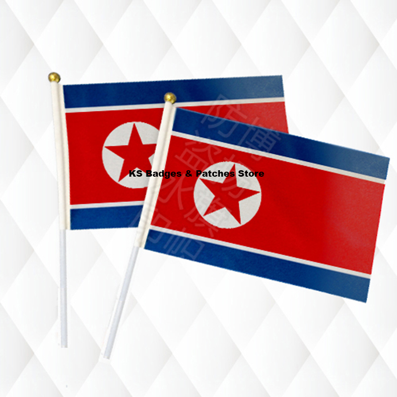 North Korea Fabric Flags 14*21CM with Plastic Hand Held KS-0046 image