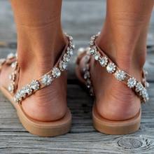 LTARTA Women Sexy Crystal Flat Sandals  Summer Rhinestones  Women's Shoes Sandals Large Size 35-43 Supply Sandals  DFGD-301