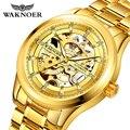 WAKNOER  роскошные брендовые часы  мужские механические часы  мужские деловые часы  мужские часы из нержавеющей стали  часы с выемкой  золото  ...
