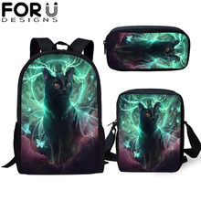 FORUDESIGNS 3Pcs/set School Bag Teenager Cool Gothic Ghost Cat Student Backpack For Girls Children Bookbags Travel Rucksack Gift
