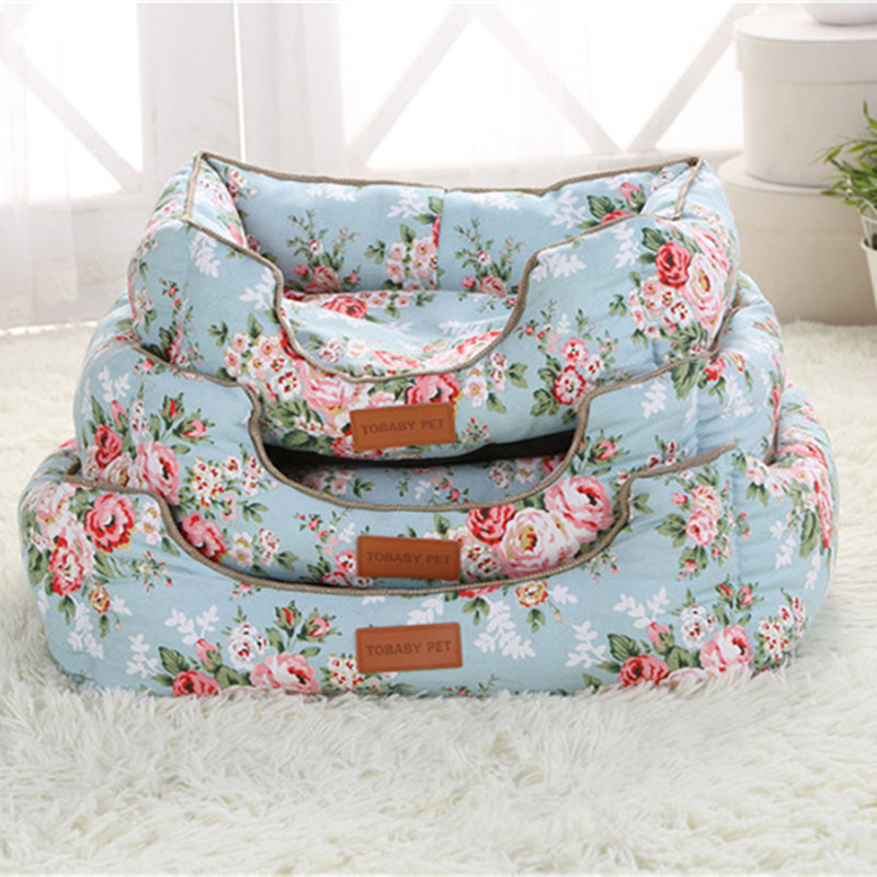 Sweet Dog House Floral Cat Bed Soft Dog Kennel Square Princess Sofa for Small Dogs Lovely Pet Sleeping Bag Bichon Teddy Yorkie 1