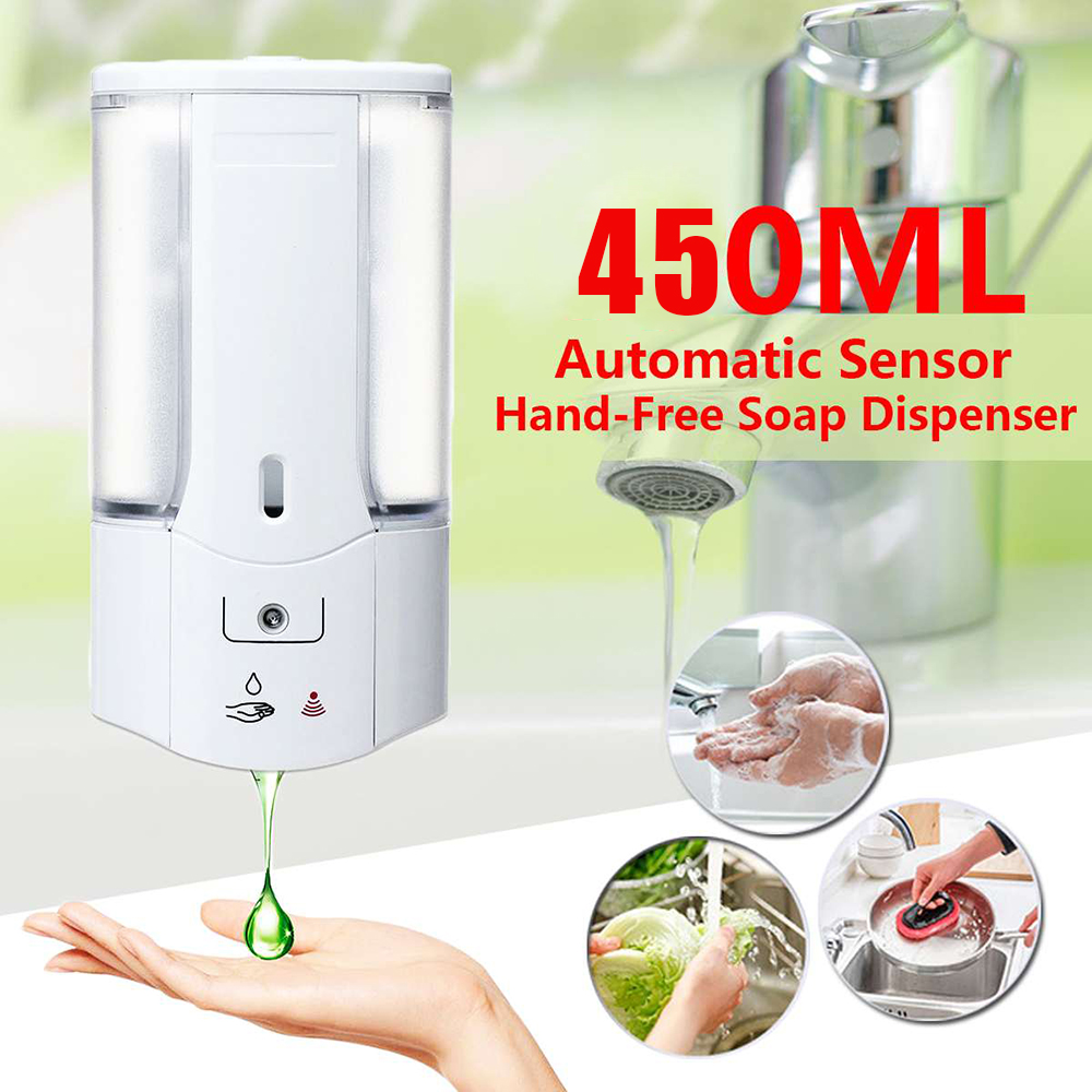 450mL Wall Mounted Automatic Soap DispenserInfrared Induction Smart Liquid Soap Dispenser For Kitchen Bathroom