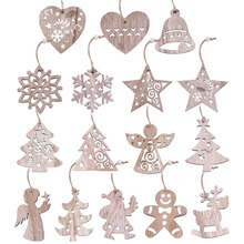 New Christmas 3/4/6pcs Vintage Party Wooden Pendants Ornaments Snowflake Star Angel Tree Decorations for Home Supplies