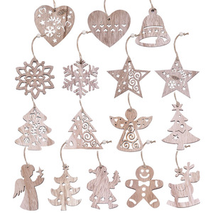New Christmas 3/4/6pcs Vintage Party Wooden Pendants Ornaments Snowflake Star Angel Christmas Tree Decorations for Home Supplies(China)