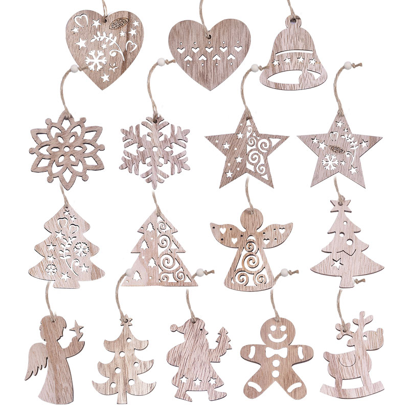 New Christmas 3/4/6pcs Vintage Party Wooden Pendants Ornaments Snowflake Star Angel Christmas Tree Decorations for Home Supplies