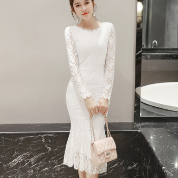 Women Summer Lace Dresses 2020 O-neck Elegant Sexy Mid-Calf Sheath Long Sleeve Formal Party Black Long White Dress Women Clothes 2